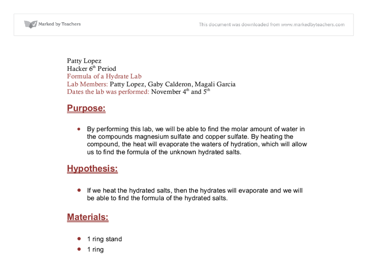 Magnesium Oxide Reaction - Lab Report