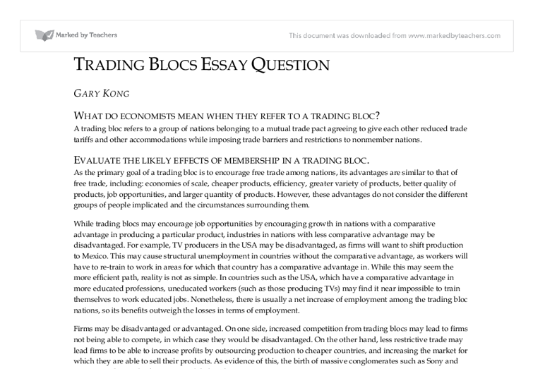 Evaluation of Trading Blocs - International Baccalaureate ...