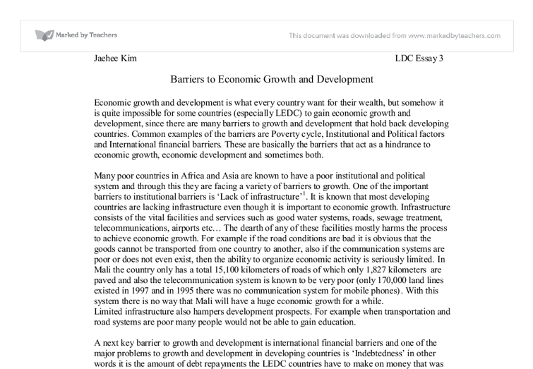 barriers to economic growth and development international  document image preview