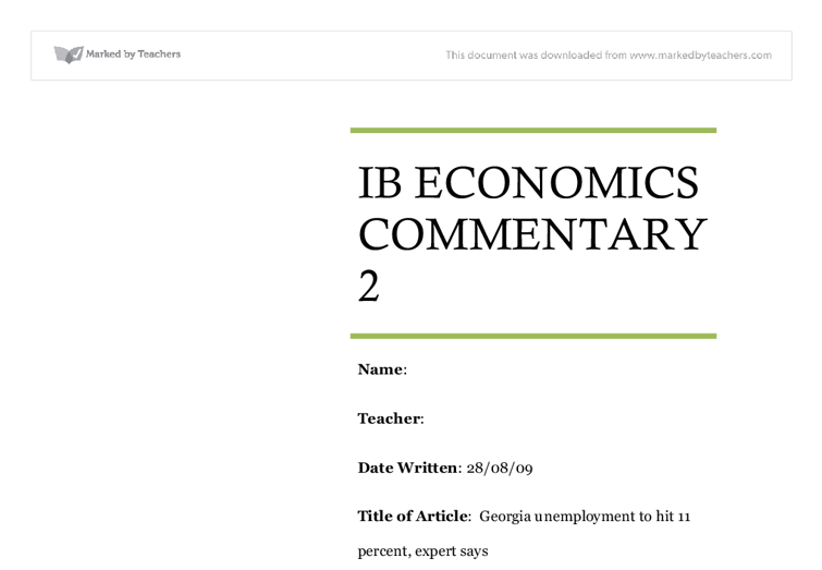 Internal Assessment Sample – Microeconomics