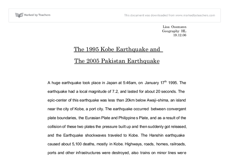essay on recent earthquake in pakistan Essay # 1 introduction to earthquake: an earthquake is a major demonstration of the power of the tectonic forces caused by endogenetic thermal conditions of the interior of the earth.
