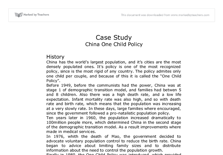 essays on chinas one-child policy Free essay on china's one child policy available totally free at echeatcom, the largest free essay community.