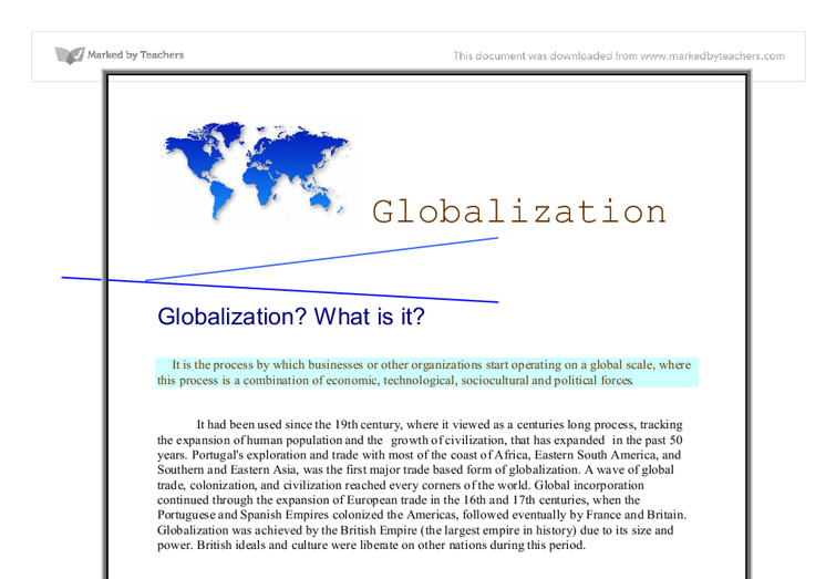 Impact of Globalization on Trade and Employment