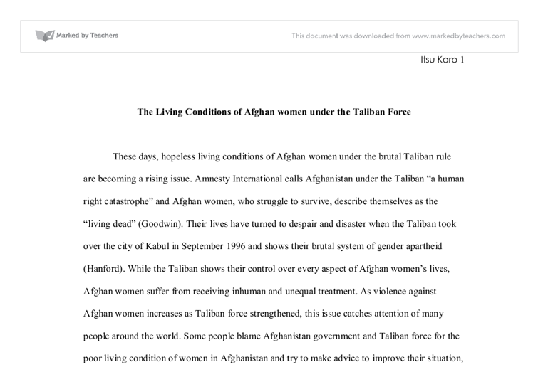the living conditions of afghan women under the taliban force  document image preview