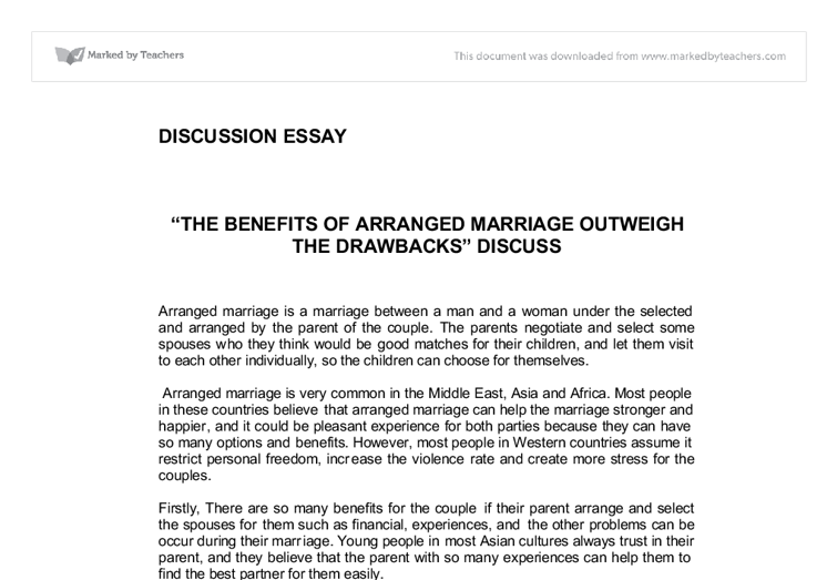 Argumentative essay arranged marriage