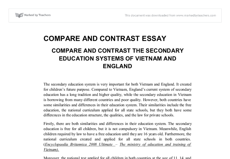 Comparison and Contrast of Two Countries (APA style - 1700 words)