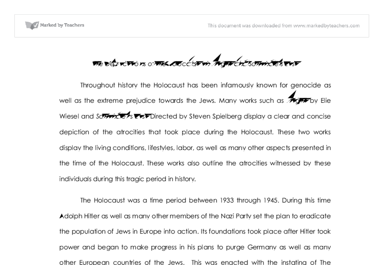 the depictions of the holocaust in night and schindlers list  document image preview