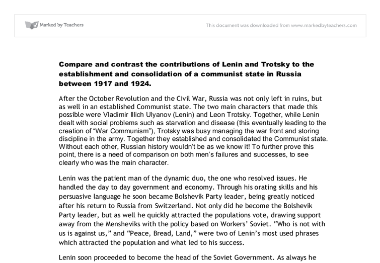 compare and contrast the contributions of lenin and trotsky to the  document image preview