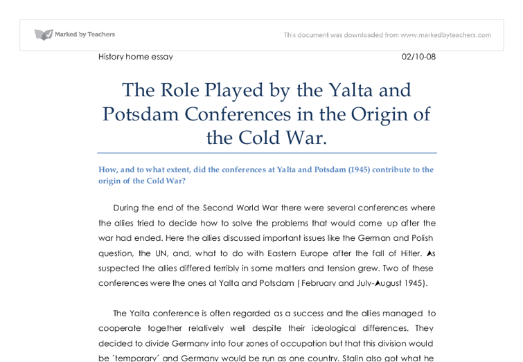 the role played by the yalta and potsdam conferences in the origin  document image preview