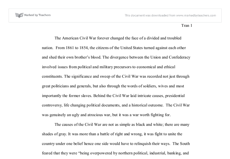 essay on american civil war From the burns archive and an essay about surgery during the civil war   however, despite limited training, as a consequence of america's expanding.