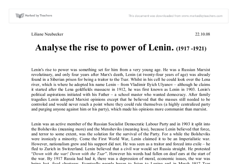essays on lenins rise to power This essay will analyze stalin's rise to power through the study of four main elements, which can be denominated as situation in the ussr lenin's power essay.