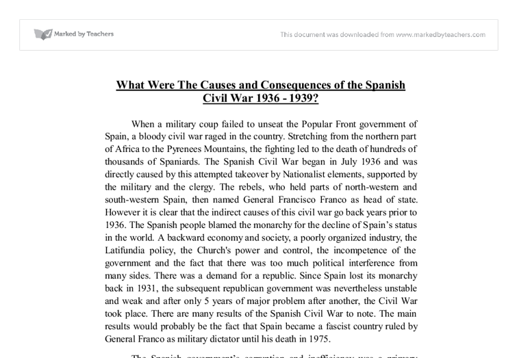 the causes and consequences of the spanish civil war document image preview