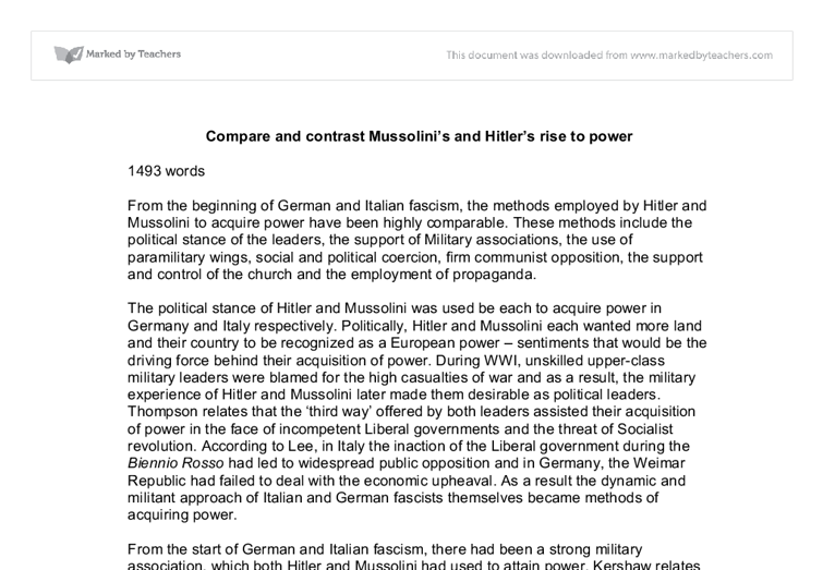 Hitler and mussolini similarities essay