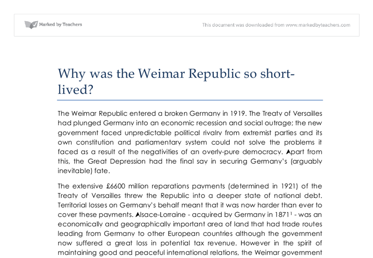 problems of weimar republic essay