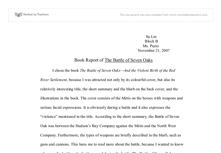 book report of the battle of seven oaks international  document image preview