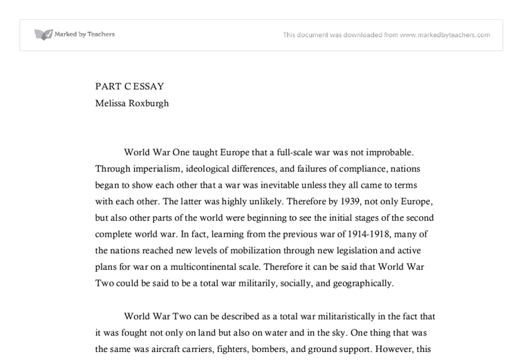 ww as a total war international baccalaureate history marked document image preview