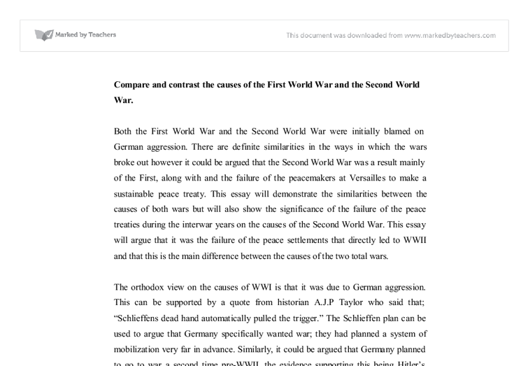 Compare and contrast the causes of the first world war and the