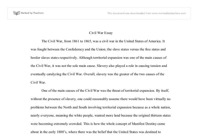 civil war inevitable essay The civil was inevitable the existence of slavery was the main conflict between the north and the south that led to other conflicts such as the kansas-nebraska act, the dred scott decision, and the election of president abraham lincoln.
