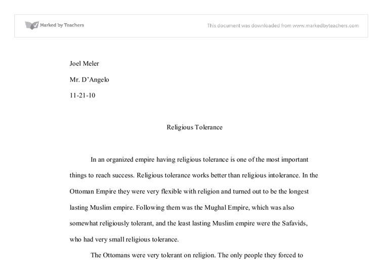 Why is religious tolerance important?