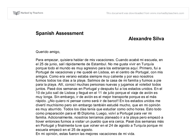 summer vacation essay in spanish