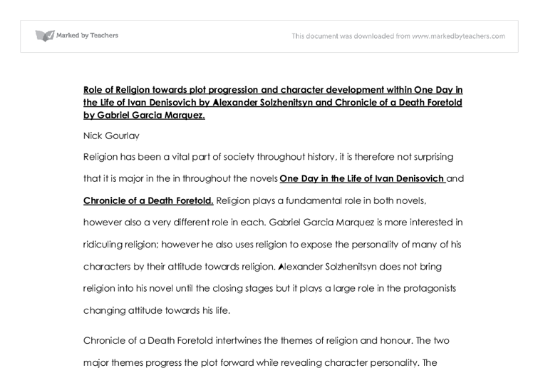 world lit essay chronicle of a death international  document image preview
