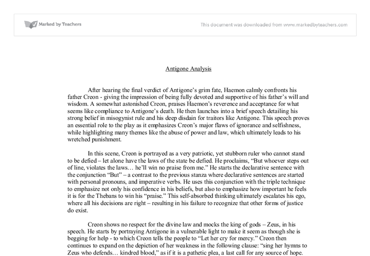 antigone analysis literary techniques international  document image preview