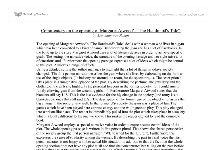 the handmaids tale short summary essay The handmaid's tale outline + thesis statement living in a world where nothing is private or personal, can relate to the handmaids in the handmaid.