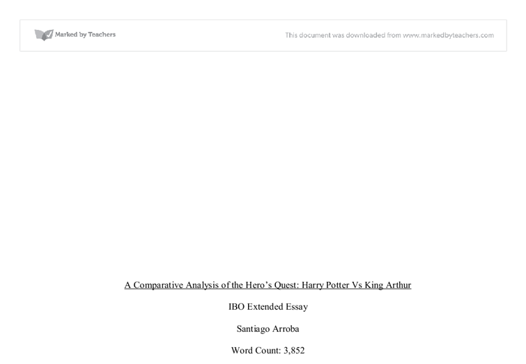 extended essay harry potter vs king arthur international  document image preview