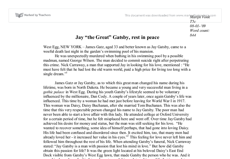 jay gatsby essays Get your essays here, 10,000 to choose from in f scott fitzgerald's novel the great gatsby, jay gatsby is a distinguished example of a tragic hero because.