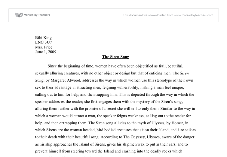 the siren song essay international baccalaureate languages  document image preview