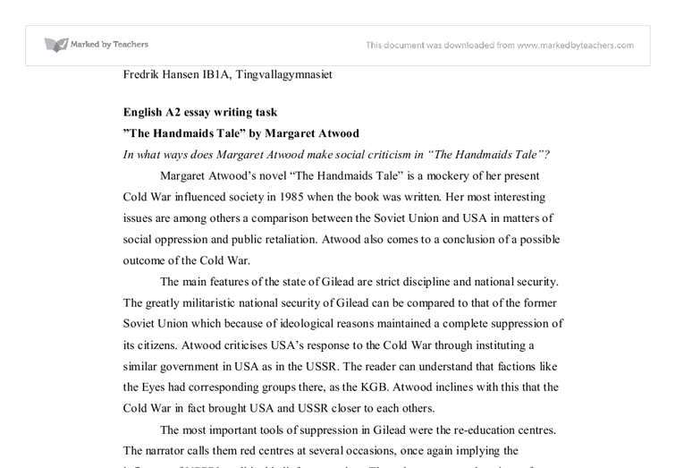 essay the handmaids tale international baccalaureate languages  document image preview