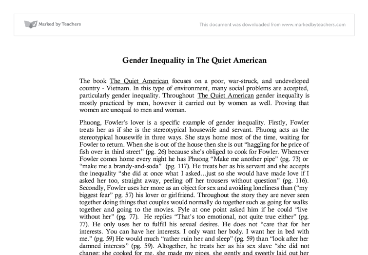 quiet american essay questions The essay about this question could be structured around personal experiences or the writer could use quotes from the novel as evidence the quiet american study guide contains a biography of graham greene, literature essays, quiz questions, major themes, characters, and a full summary.