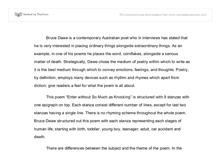 bruce dawe essay bruce dawe essay enter out so much as knocking  enter out so much as knocking commentary international document image preview year up essay