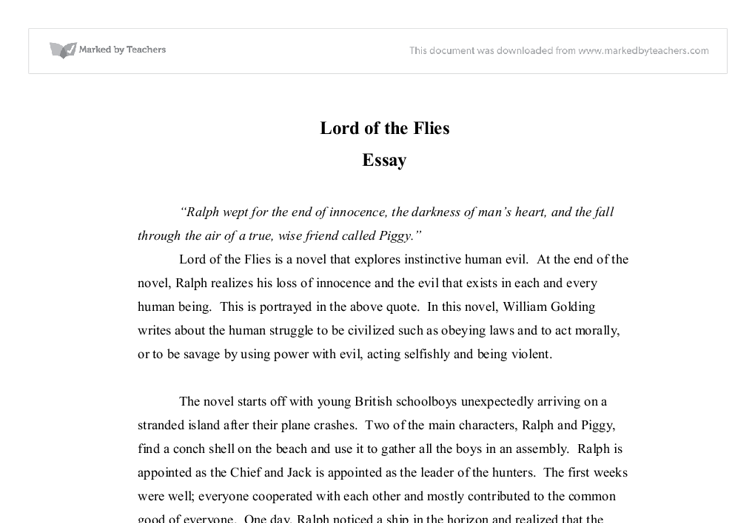 lord of the flies savagery essay