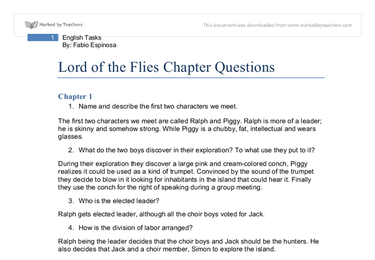 thesis of lord of the flies Free essays lord of the flies: character analysis of ralph essay more about lord of the flies: character analysis of ralph essay ralph, jack, piggy -lord of.