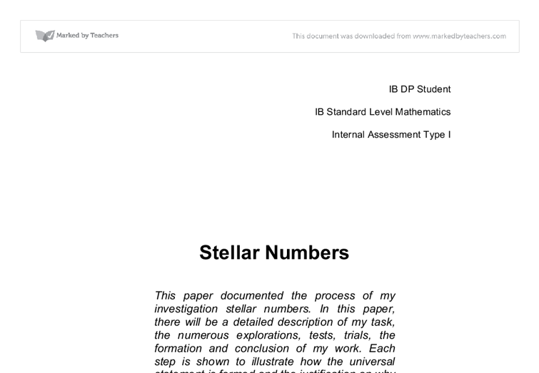 stellar numbers essay Part 1: below is a series of triangle patterned sets of dots the numbers of dots in each diagram are examples of triangular numbers let the variable 'n.