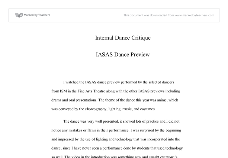 iasas dance critique international baccalaureate misc marked  document image preview