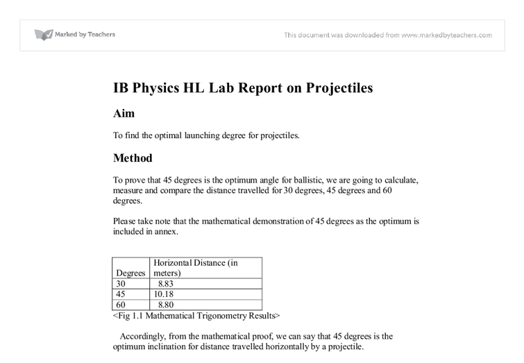 Example physics lab report
