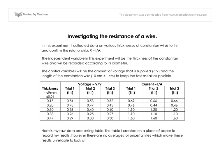 physics coursework resistance of a wire analysis Physics wire resistance coursework gcse physics coursework - resistance of a wire coursework resistance of a wire task to investigate how the resistance of a wire is affected by the length of the wire.