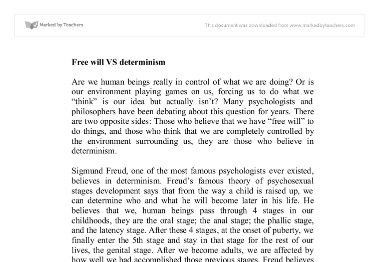 free will vs determinism psychology essay questions