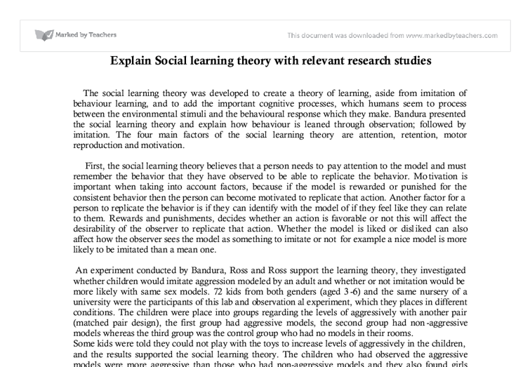 Theories paper social learning theory