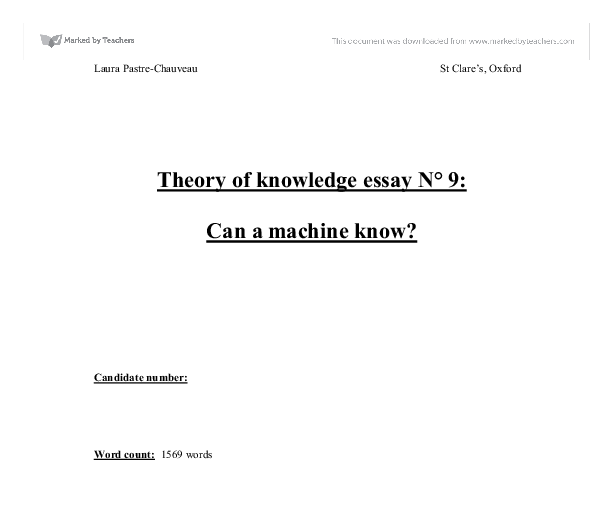 can machine know tok essay I will be doing this question too there's actually a lot to say about this topic when you said humans - robots - humans that is all robotics and there is a huge resource online and in books about the subject, similarly, you could consider artificial intelligence ai.