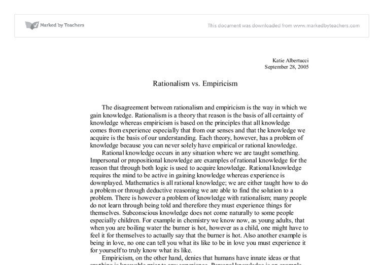 kant and descartes essay Essay writing guide learn the art i am going to compare and contrast hume's empiricism to descartes' rationalism hume claims that a valid knowledge can be attained through the senses or what he descartes skepticism about the reliance of the senses as the means to a true knowledge stems.