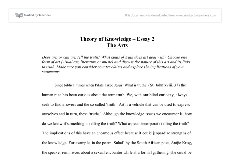 Theory of knowledge art essay