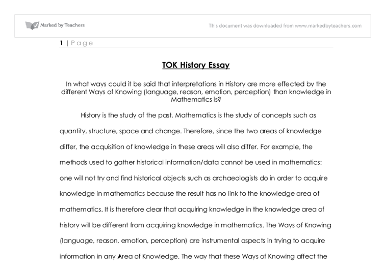 tok history essay international baccalaureate theory of  document image preview