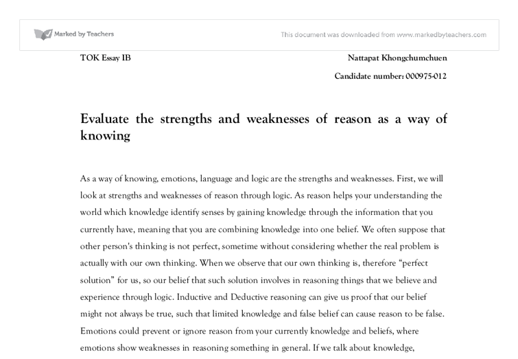 reason as a way of knowing essay Need essay sample on beyond the realm of reason: the strengths and weakness of reason as a way of knowing we will write a cheap essay sample on beyond the realm.