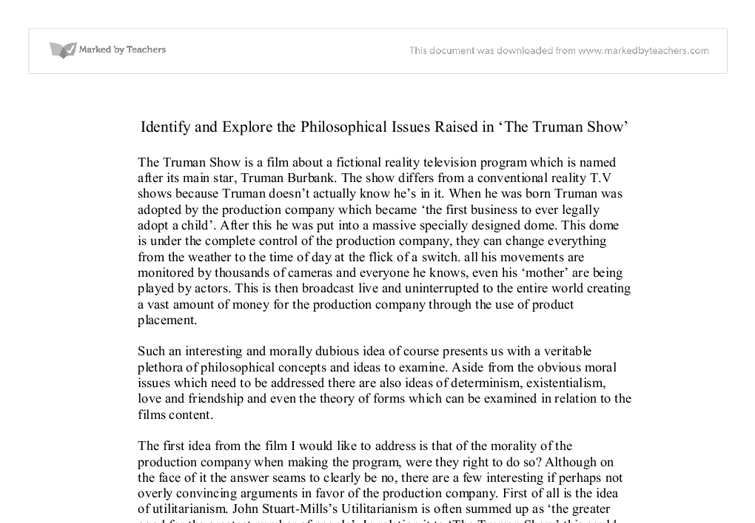the truman show themes essay After watching the movie truman show, i think a lot about the reality about the media recently in fact, i know exactly this movie was to express an ironic effect.