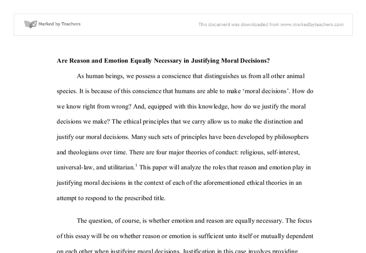 are reason and emotion equally necessary Ib tok prescribed essay: are reason and emotion equally necessary in justifying moral decisions urgent.