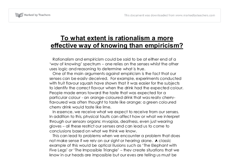 Rationalism Vs. Empiricism Essay Sample