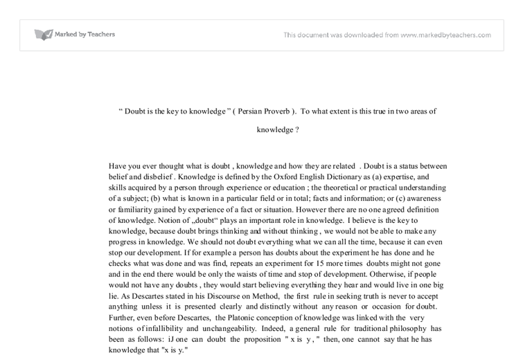 doubt knowledge essay